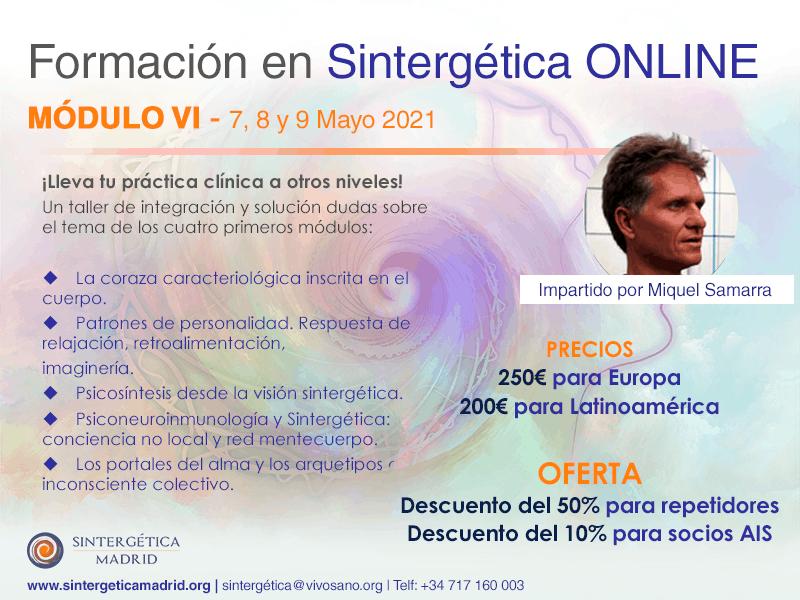 Formación Sintergética   Promoción XIV(Madrid) 2020 – 2021  ONLINE -Módulo 6