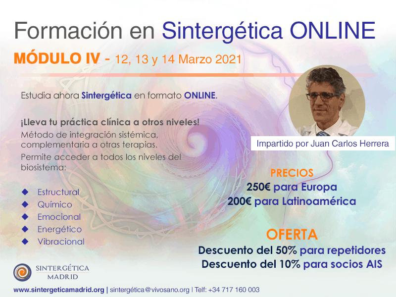 Formación Sintergética | Promoción XIV (Madrid) 2020 – 2021| ONLINE -Módulo 4