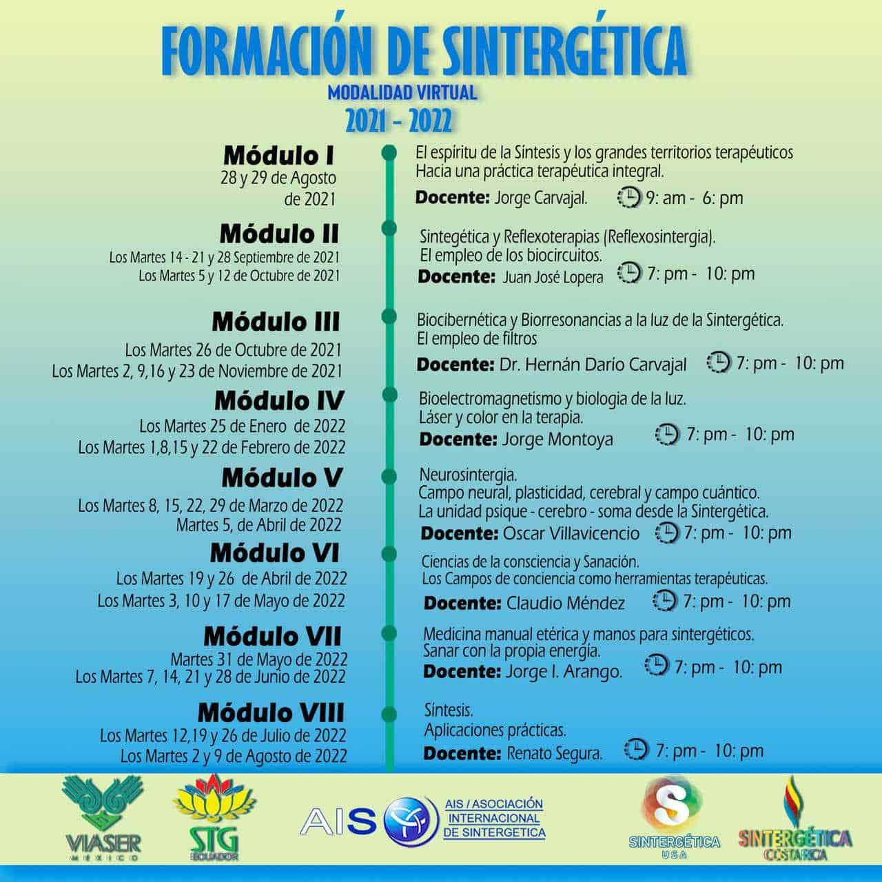 Formación SINTERGÉTICA USA – COSTA RICA – ECUADOR – MÉXICO  |  2021/2022 – Módulo 8 |  ONLINE
